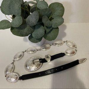 Tony Lama Vtg Women Silver Concho Leather Belt 34